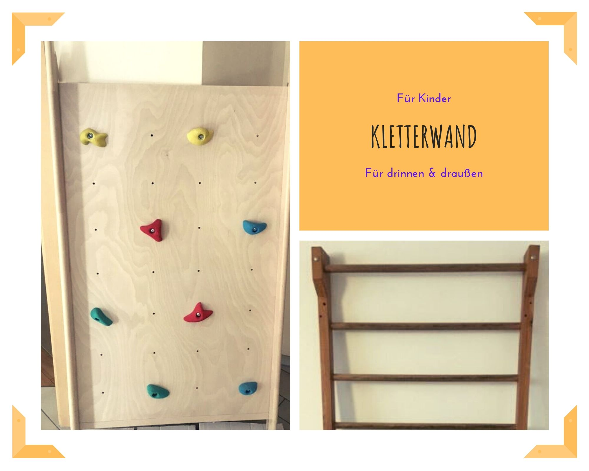 Kletterwand und Sprossenwand Collage